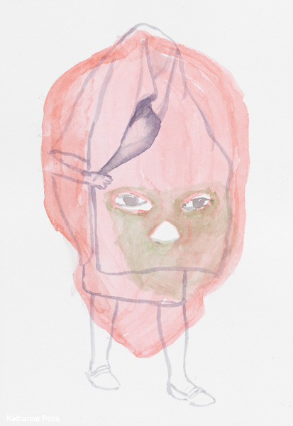 Mask, 26 x 18 cm, watercolour on paper, 2009